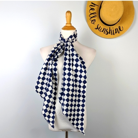 60s Mod Checkered Long Scarf Bold Vintage